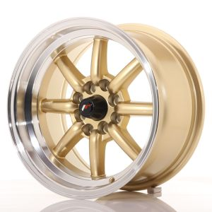JR Wheels JR19 15x8 ET0 4x100/114 Gold w/Machined Lip