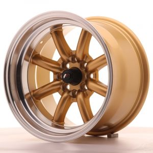 JR Wheels JR19 15x9 ET-13 4x100/114 Gold w/Machined Lip