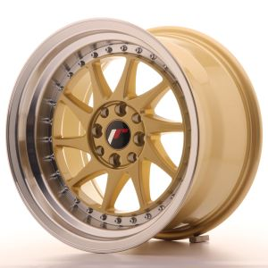 JR Wheels JR26 16x9 ET20 4x100/108 Gold w/Machined Lip