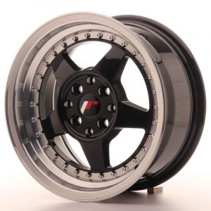 JR Wheels JR6 15x7 ET35 4x100/114 Gloss Black w/Machined