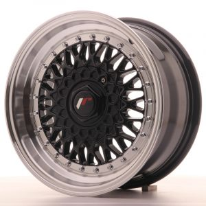 JR Wheels JR9 15x7 ET20 4x100/108 Gloss Black w/Machined Lip